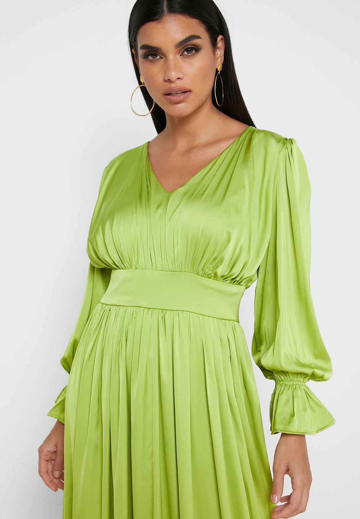 Puffed Sleeve Box Pleat Satin Maxi Dress
