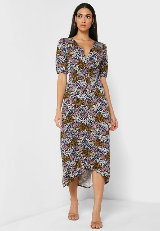 Meadow Floral Shirred Waist Dress