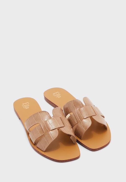 Croc Cut-out Flat Sandal