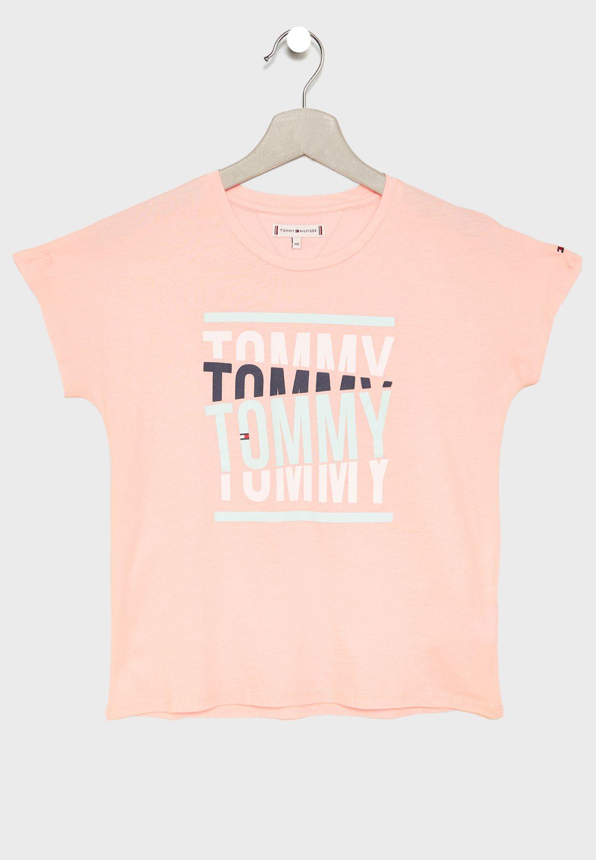 b673dd3dbf97 Shop Tommy Hilfiger pink Teen Logo T-Shirt KG0KG04196 for Kids in ...