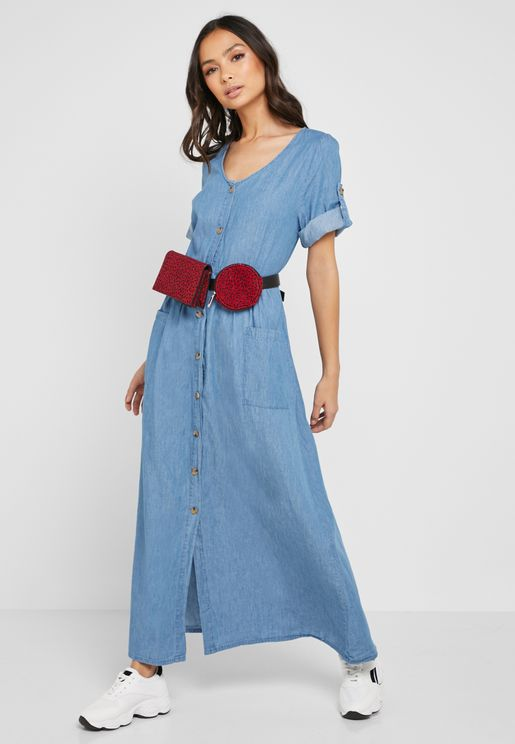 Button Down Denim Midi Dress
