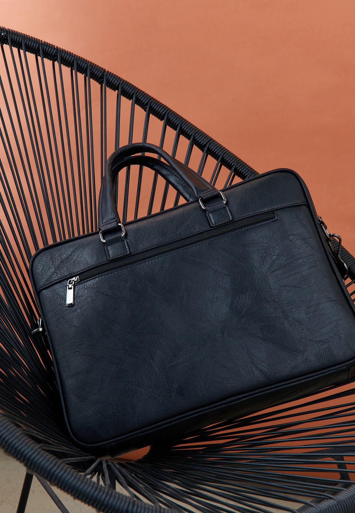 Faux Leather Laptop Bag With Compartments