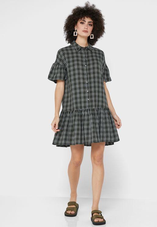 Button Detail Ruffle Dress