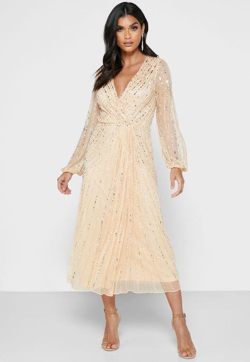 Mesh Sleeve Sequin Dress