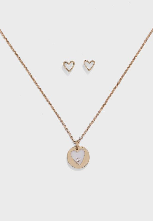 Mop Heart Necklace+Earring Set