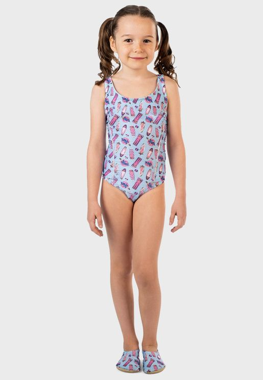 Kids Ladies Print Swimsuit