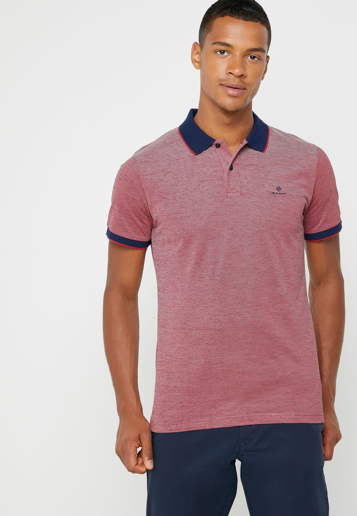 2e2b6287650 Shop red Oxford Contrast Edge Polo 2012012-620 for Men in UAE ...