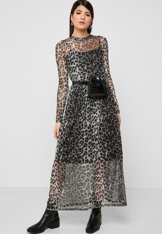 Sheer Detail Animal Print Dress