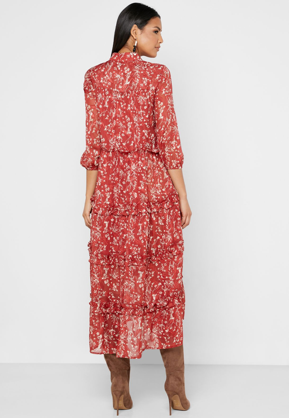 فستان مطبع باطراف كشكش