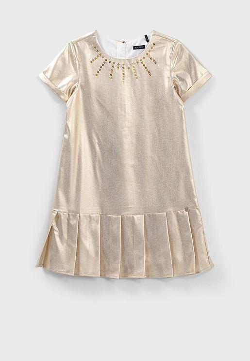 Kids Metallic Pleated Dress