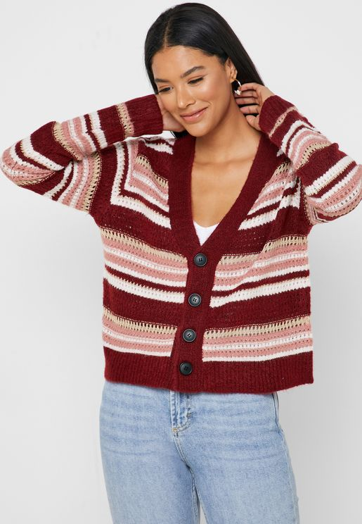 Striped Button Front Pointelle Cardigan