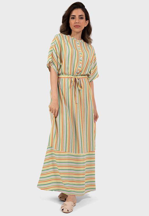 Striped Button Detail Dress