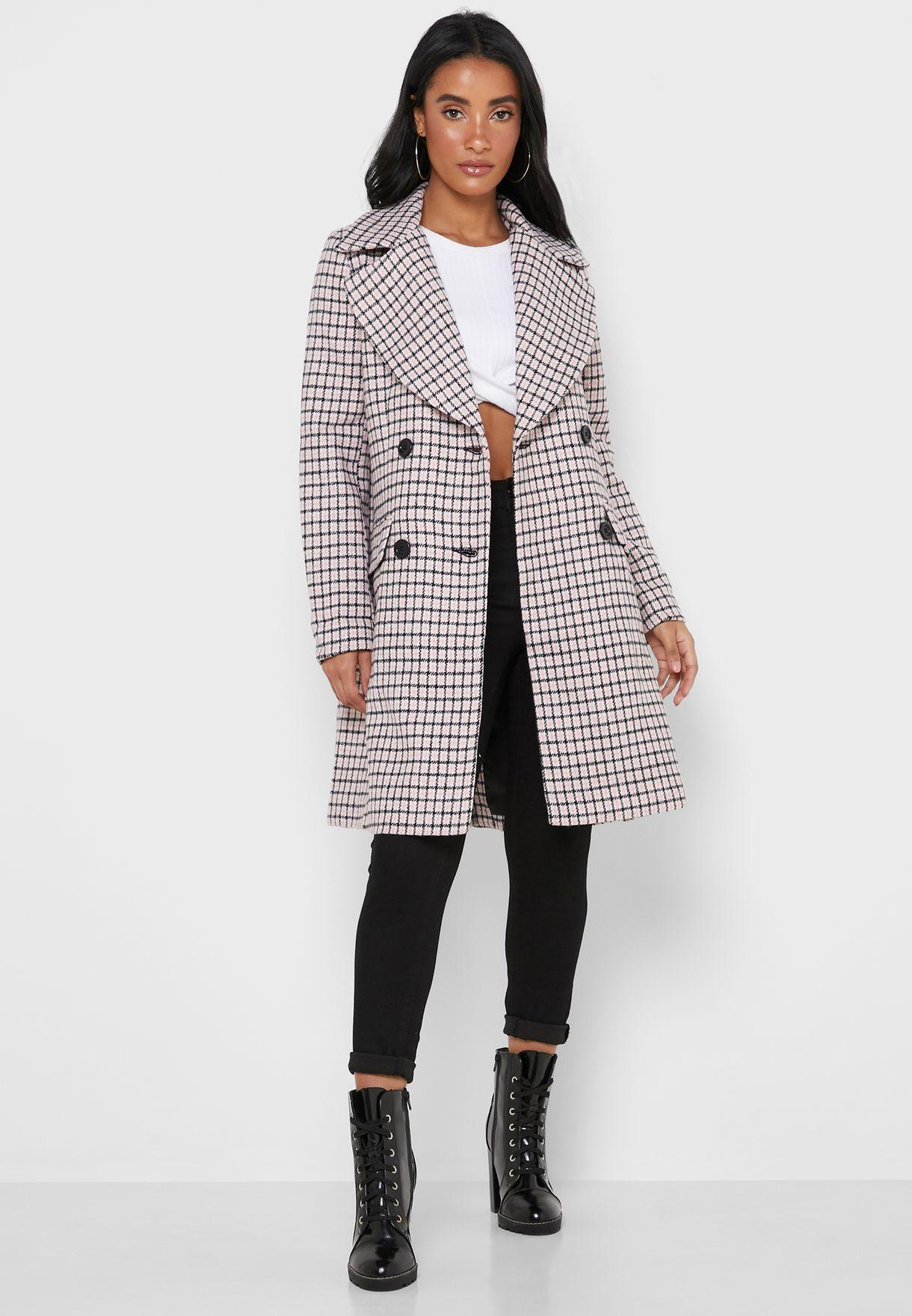 معطف طويل بطبعات مربعات