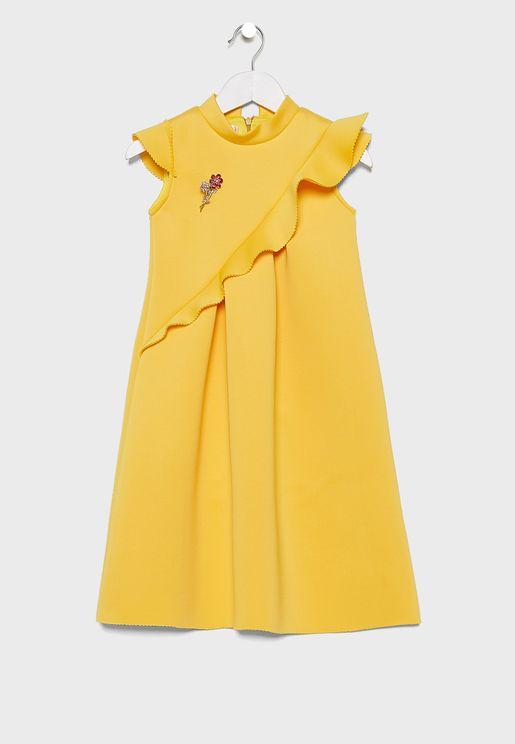 Teen Ruffle Neck Dress