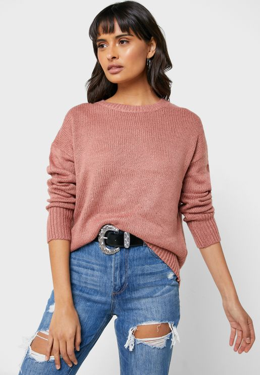 Ribbed Hem Knitted Sweater