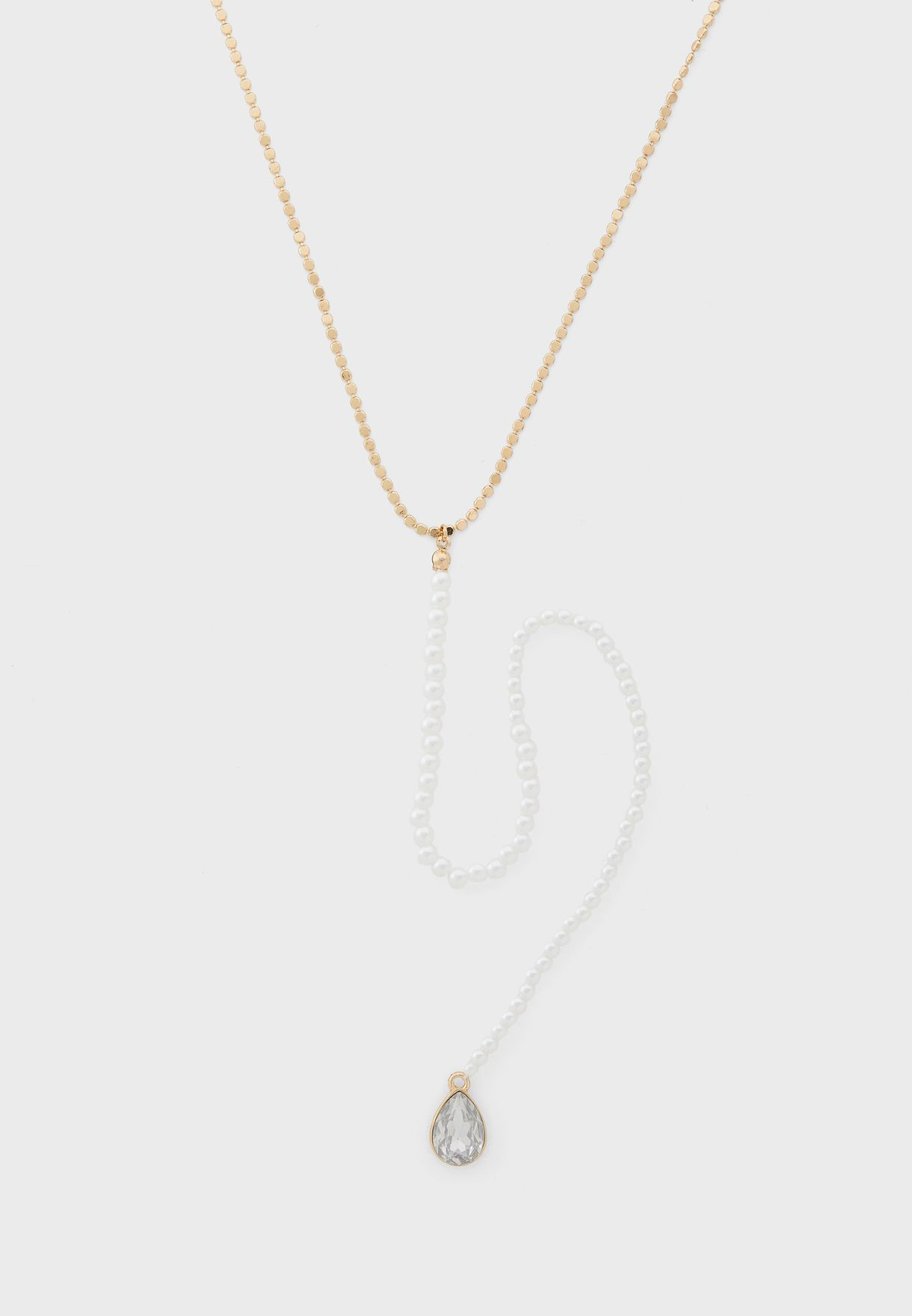 Mixed Pearl Drop Necklace With Stone