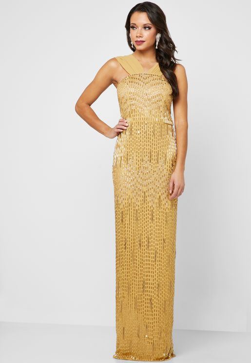 Cornelia Sequin Detail Maxi Dress