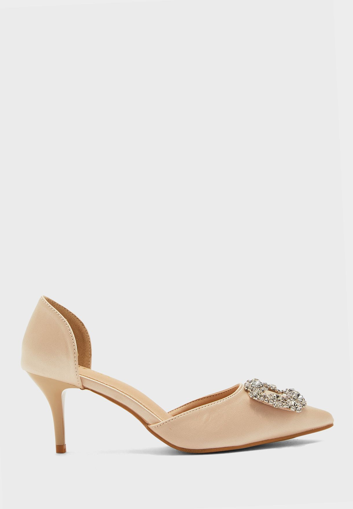 Jewelled Flower Buckle Pointed Pump