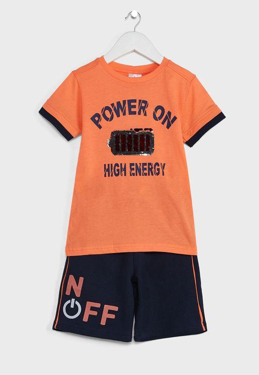 Kids Slogan T-Shirt & Shorts Set