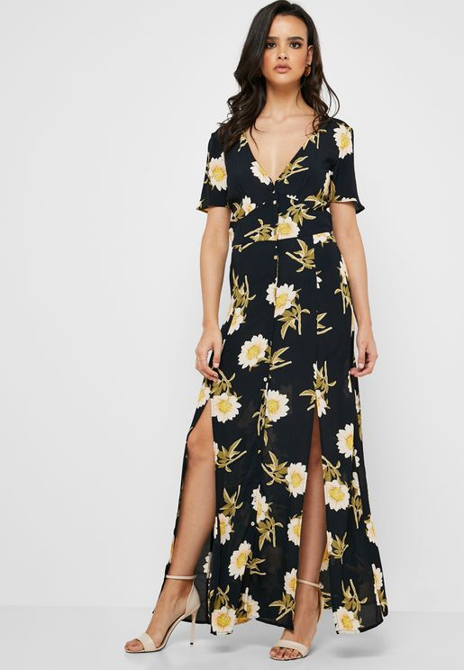 54342c37e4a958 Side Split Floral Print Dress. Miss Selfridge. Side Split ...