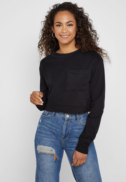 Chest Pocket Cropped Sweatshirt