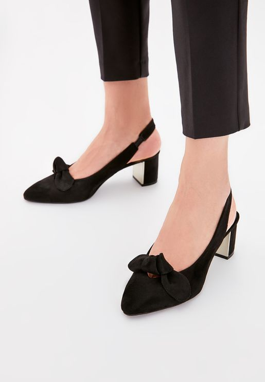 Suede Buckled Block Heel Pump
