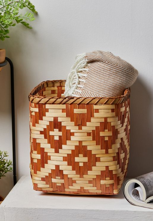 Terracotta Geo Bamboo Basket