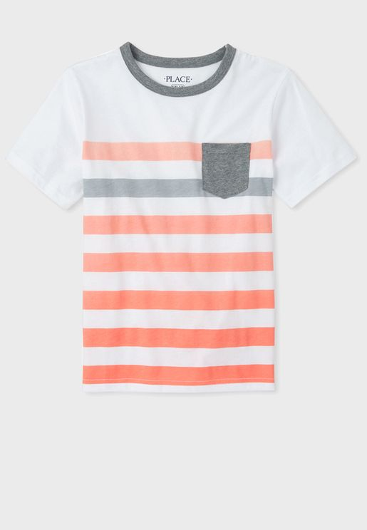 Kids Stripped Pocket Detail T-Shirt