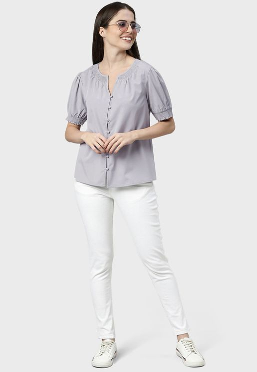 Puff Sleeves Button Detail Top