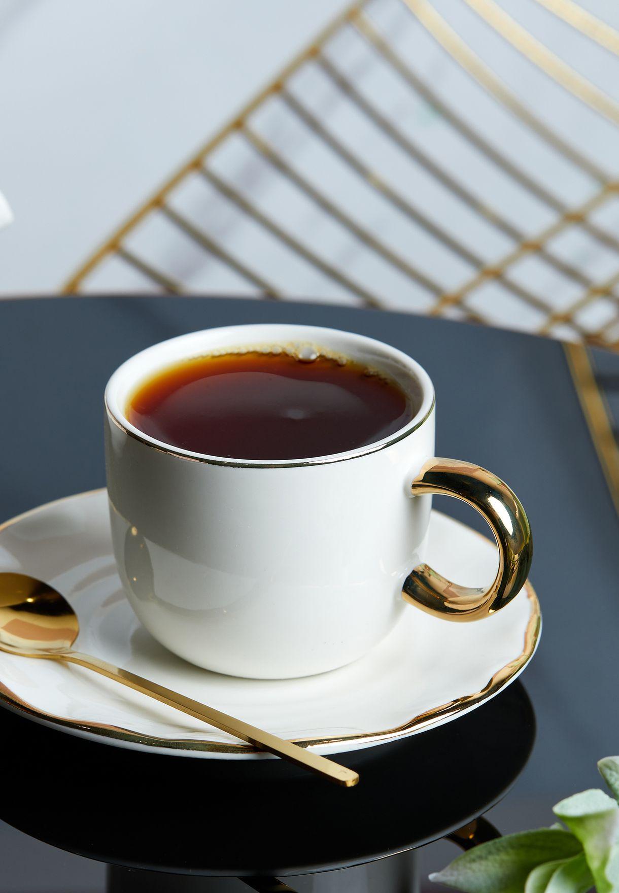 طقم كوب شاي وصحن وملعقة