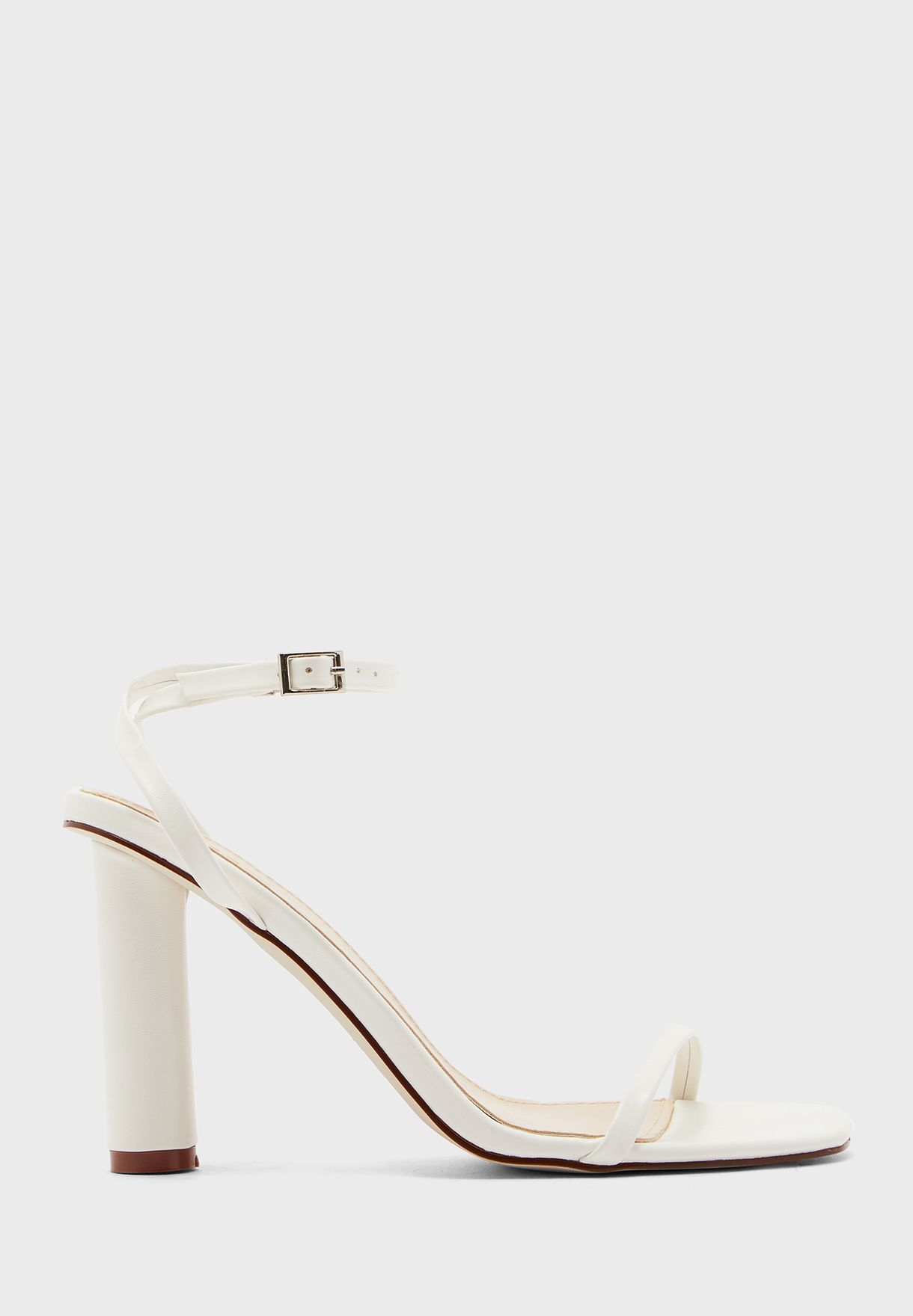Barely There Ankle Strap Sandal With Feature Heel