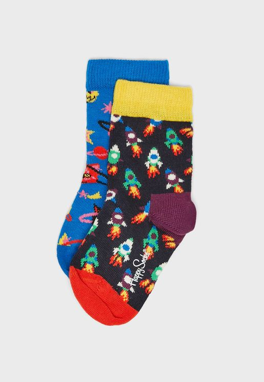 Kids 2 Pack Space Cat Socks