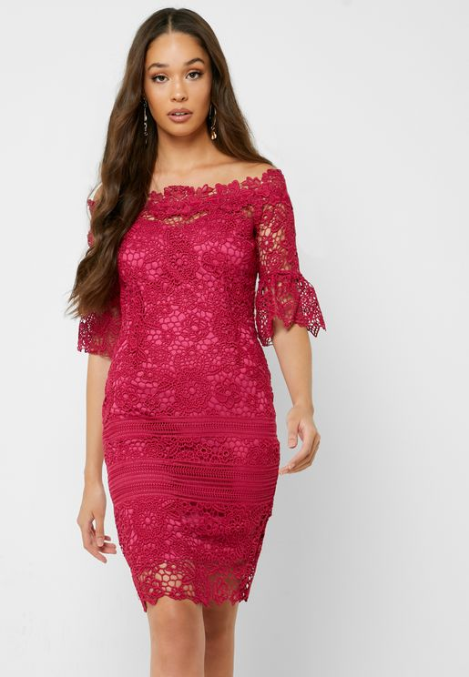 Lace Bardot Flute Sleeve Dress