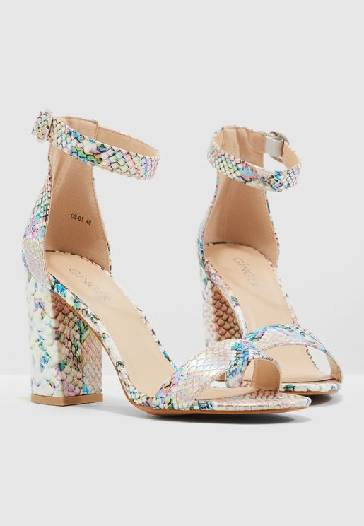 Block Heel Barely There Sandal In Metallic Snake Print