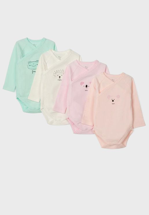 Infant 4 Pack Wrapped Bodysuit