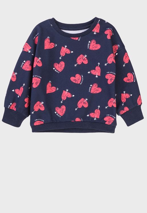 Infant Hearts Aop Basic Crew Sweater