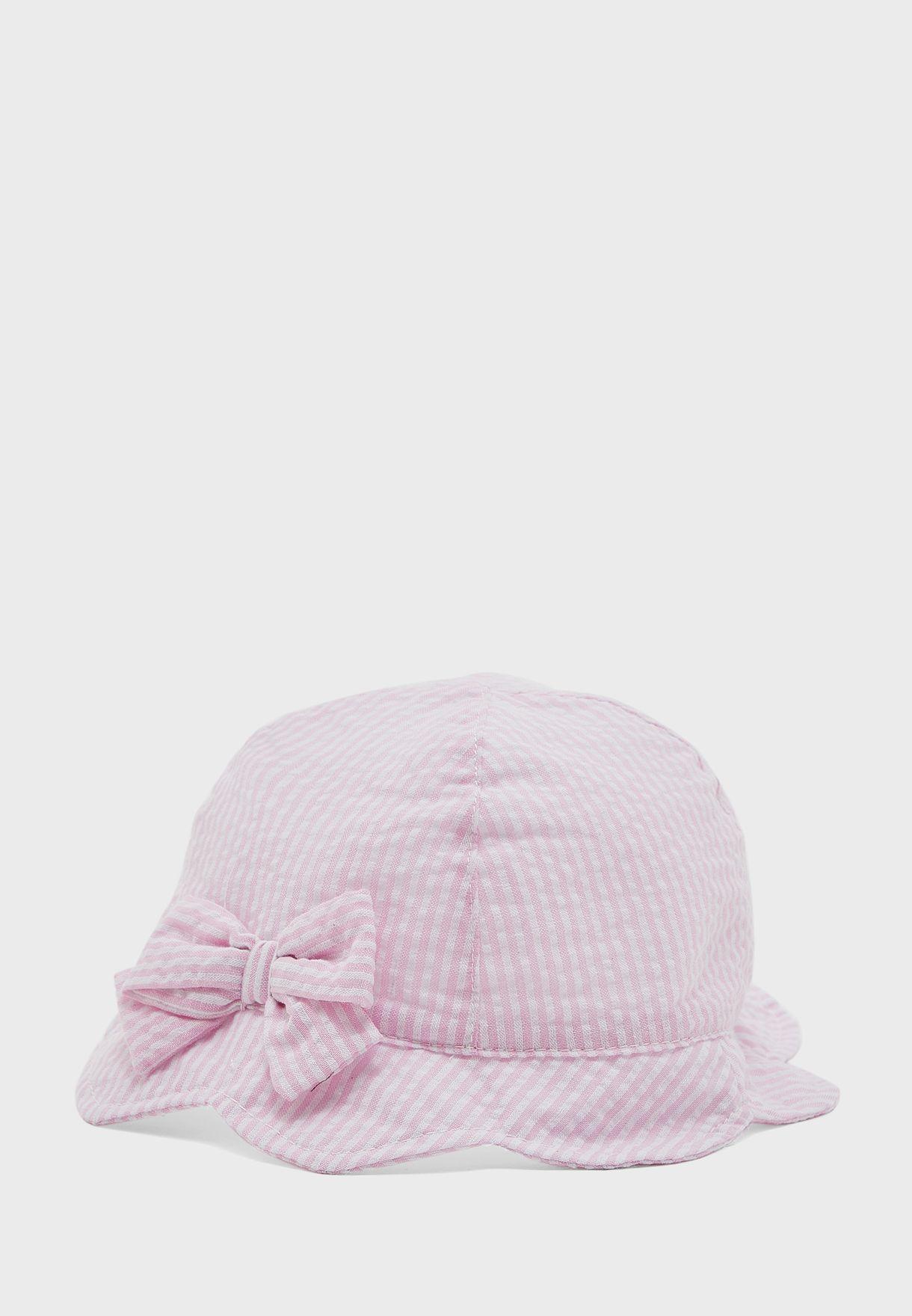 Kids Striped Bow Detail Hat