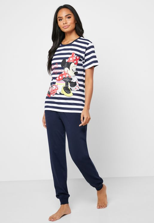 Minnie Printed Striped T-Shirt & Pyjama Set