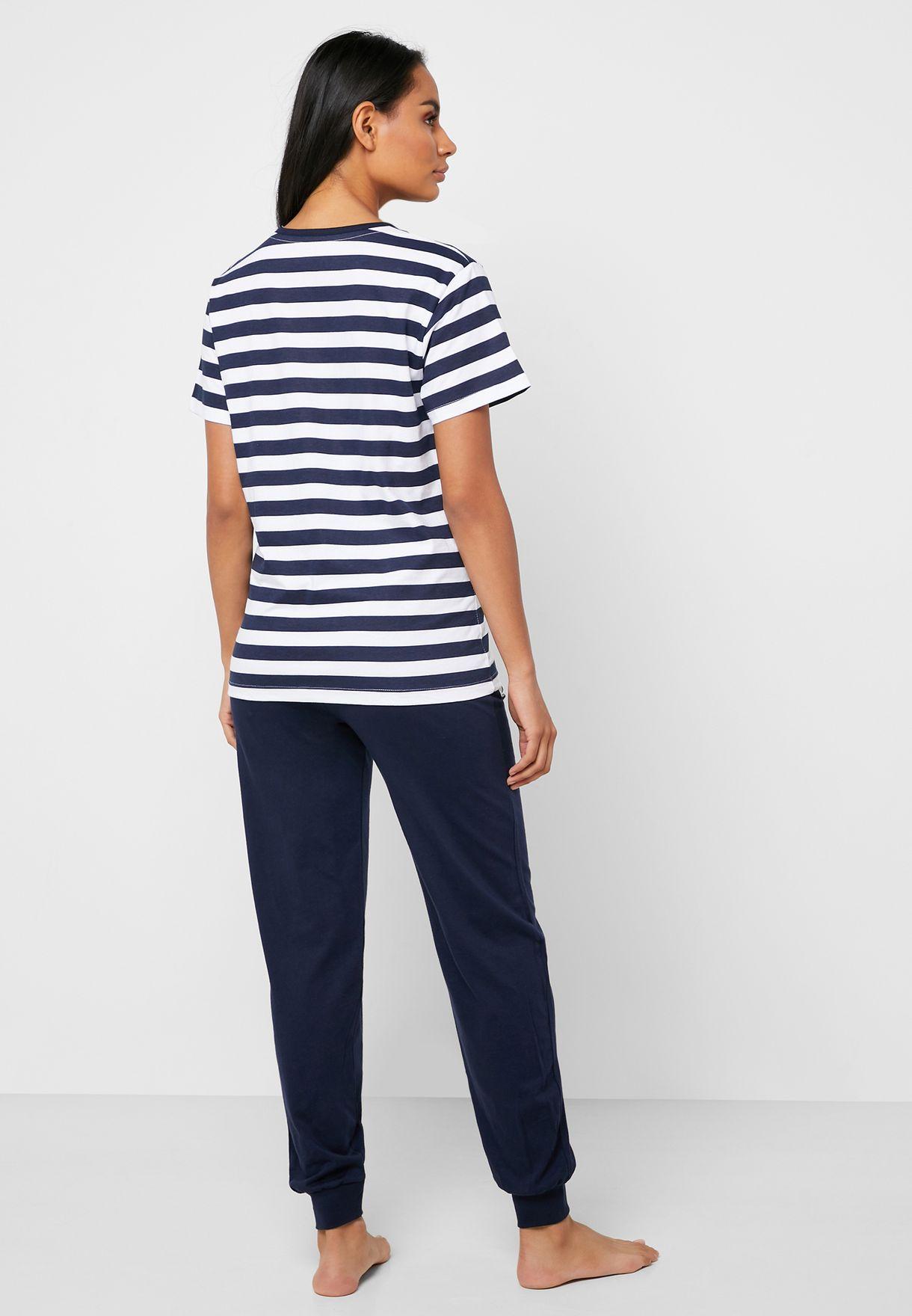 Minnie Printed Striped T-Shirt & Pyjama Set