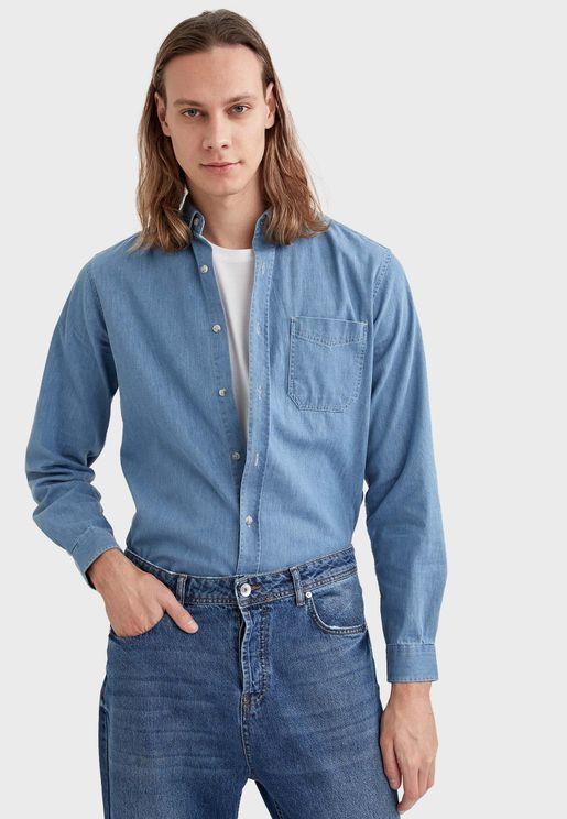 Mid Wash Slim Fit Denim Shirt