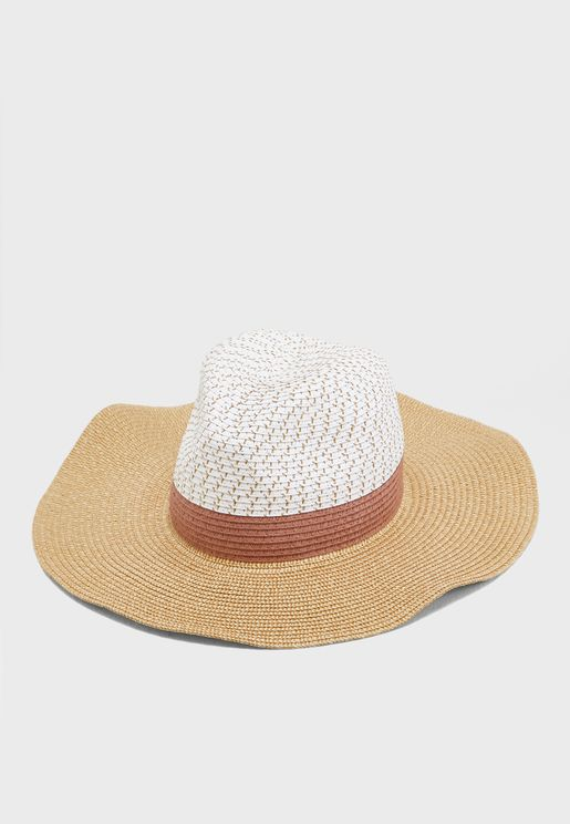 Colour Block Fedora Straw Hat