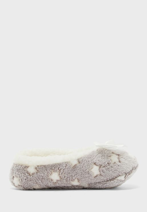 Star Slipper Socks With Bow