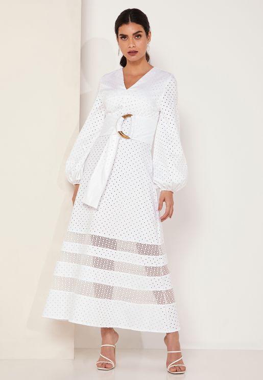 Secret Garden Polka Dot Lace Trim Maxi Dress