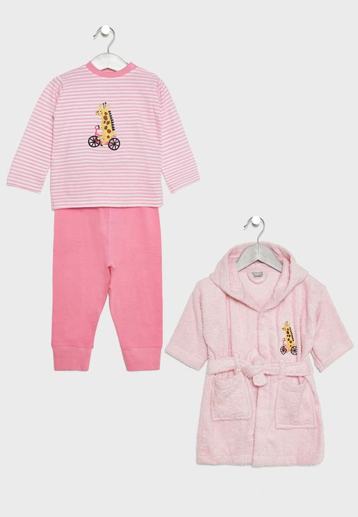 Infant Long Pyjama Set + Bathrobe Set