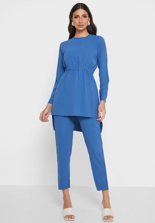 Elastic Detail Tunic & Pants Set