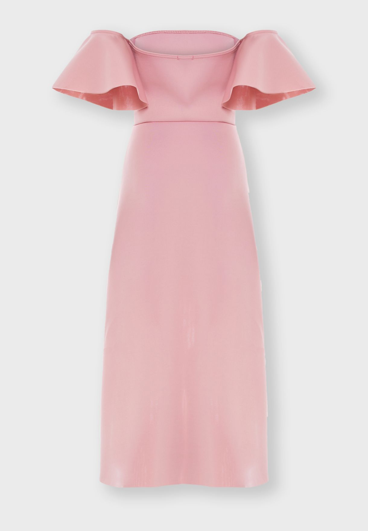 فستان يكشف الاكتاف مع اكمام قصيرة