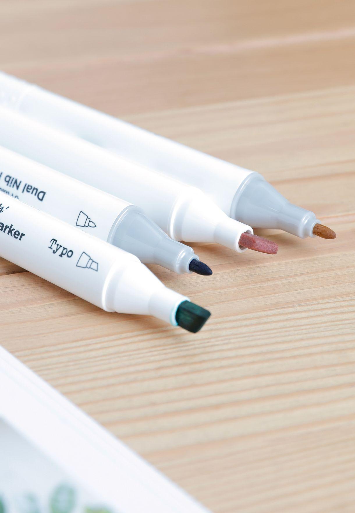 مجموعة 36 قلم ماركر بنهايات مزدوجة