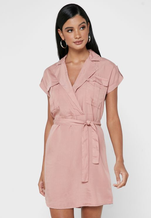 Collared Tie Waist Mini Shirt Dress