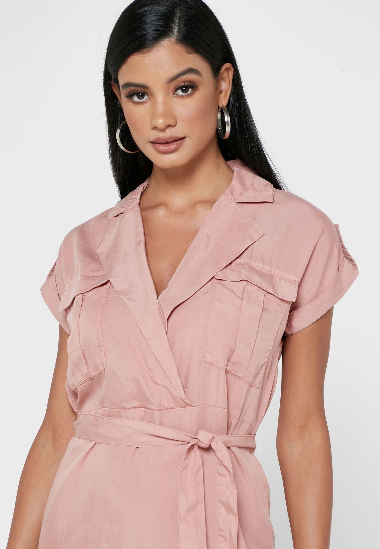 Collared Tie Waist Mini Shirt Dress