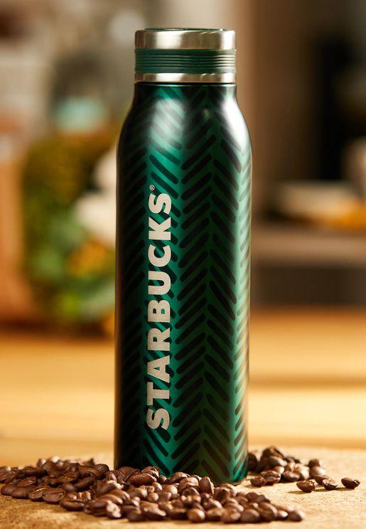 Herringbone Green Travel Bottle 15Oz